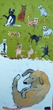 kathy beynette cats and dogs oil on board