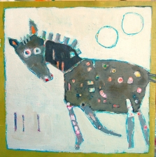 kathy beynette animals mixed media on board