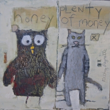kathy beynette owl and pussycat oil on board