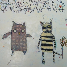 kathy beynette owl and pussycat mixed media on canvas
