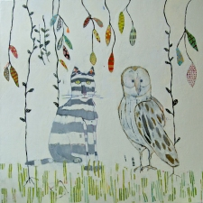 kathy beynette owl and pussycat oil on canvas