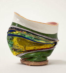 "KATHY BUTTERLY ""Enter,"" Tibor de Nagy Gallery (2014) clay, glaze, gold luster"
