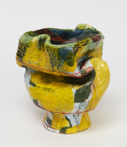 "KATHY BUTTERLY ""Yellow Haze"" (2021) Clay, glaze, acrylic resin"