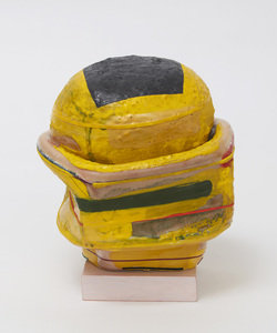 "KATHY BUTTERLY ""Yellow Haze"" (2021) Clay, glaze, wood with paint and nail polish"