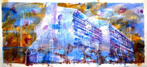Kathy Calhoun Layers, Stages and Houses Acrylic paint and paint marker on watercolor paper