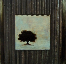 KATHY FEIGHERY Tree Series oil and metal on panel