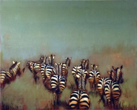 KATHY FEIGHERY Animal Series Acrylic & Oil on Panel