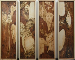 Kathy Hirshon Wood Objects wood stains and wood-burning on pine wood
