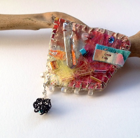 Fiber  Handpainted silk, synthetic fiber, felt, glass beads, crystal, thread