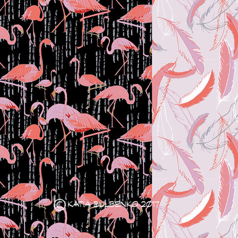 Surface & Textile Design Pink Flamingos