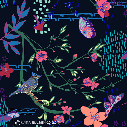 Surface & Textile Design Midnight Blooms
