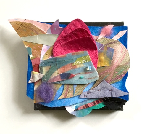 Abstract Assemblages acrylic, watercolor. canvas, beads, stitching, wool, painted silk, paper