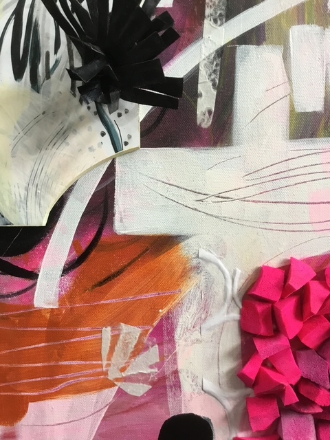 Abstract Assemblages acrylic, crayon, marker, wood, watercolor, foam, painted silk, paper, canvas