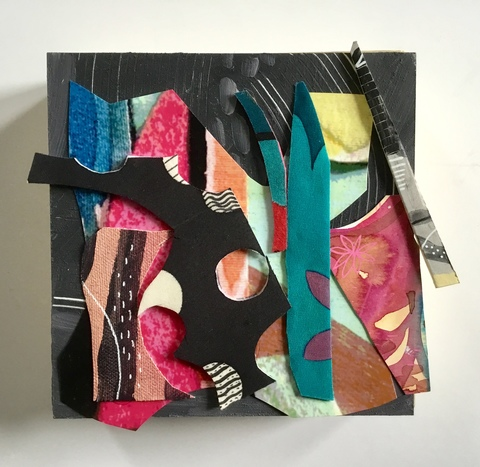 Abstract Assemblages acrylic, watercolor, painted silk, paper, canvas