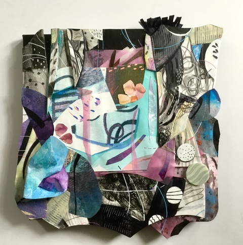 Abstract Assemblages acrylic, watercolor, crayon, marker, foam, wire, painted silk, paper, canvas