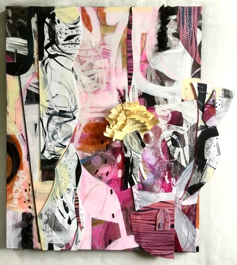 Abstract Assemblages acrylic, crayon, ink, canvas, paper, wood, foam, silk