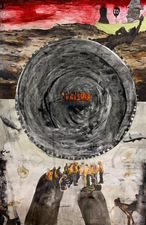 Katie Rubright The Inferno We Deserve graphite, charcoal, ink, marker, gouache, Flashe, watercolor, oil, solvent transfer, coffee and collage on paper