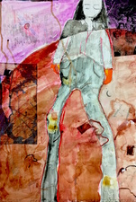 Katie Rubright The Inferno We Deserve graphite, charcoal, ink, marker, gouache, watercolor, oil, Coloraid, solvent transfer, beer and collage on paper