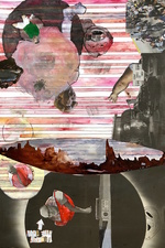 Katie Rubright The Inferno We Deserve graphite, charcoal, ink, gouache, watercolor, solvent transfer and collage on paper