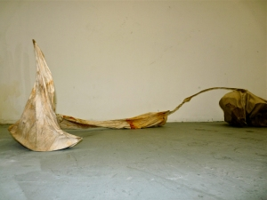 Katie Rubright 2013-2009 muslin, thread, rust, coffee, tea, wire