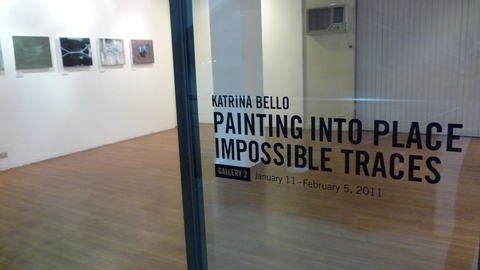 "exhibition photos ""painting into place impossible traces,"" West Gallery, Manila, Philippines 2011"