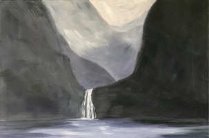 Kay Knight Clarke New Zealand-Milford Sound oil on linen