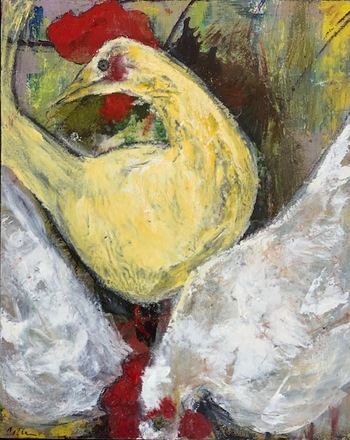 Kathy Cotter CHICKENS ENCAUSTIC