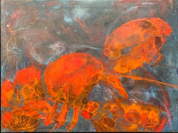 Kathy Cotter FISH/LOBSTERS Oil and Wax