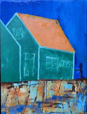 Kathy Cotter COTTAGES and PIERS OIL on BOARD