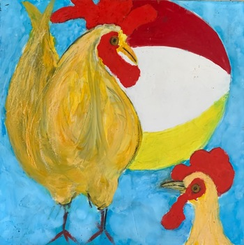Kathy Cotter CHICKENS Oil and wax on  board