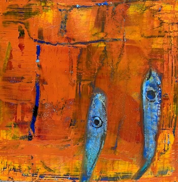 Kathy Cotter FISH/LOBSTERS OIL on BOARD