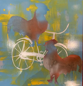 Kathy Cotter CHICKENS Mixed media