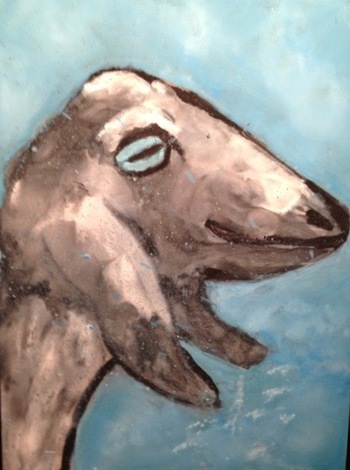 Kathy Cotter GOATS oil and wax on board