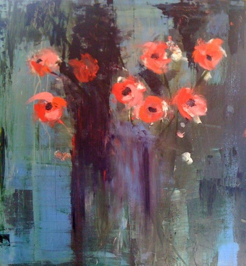 Kathy Cotter GARDEN Encaustic on Board