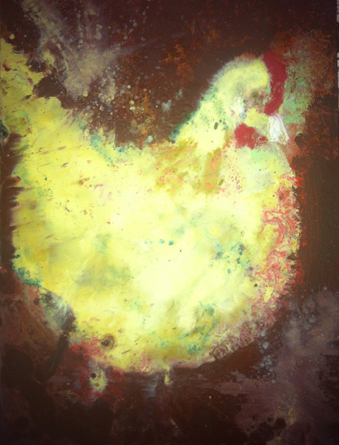 Kathy Cotter CHICKENS Encaustic on Board