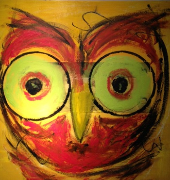 Kathy Cotter OWLS mixed media/wax