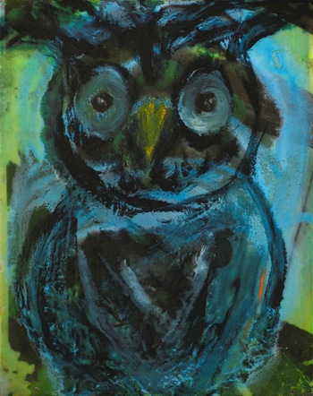 Kathy Cotter OWLS encaustic