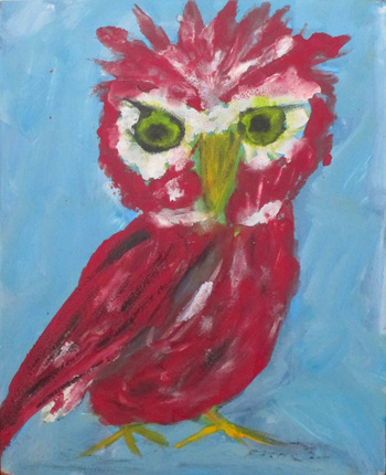 Kathy Cotter OWLS oil on board