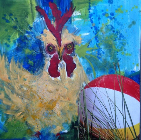Kathy Cotter CHICKENS oil,wax,collage