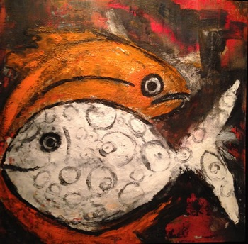 Kathy Cotter FISH mixed/encaustic