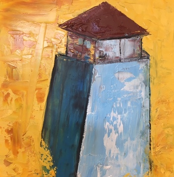 Kathy Cotter BOATS and LIGHTHOUSES Oil on board