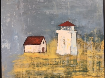 Kathy Cotter LIGHTHOUSES and BOATS OIL AND WAX ON BOARD