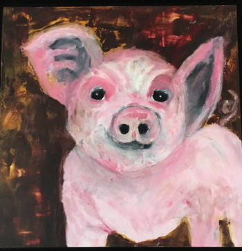 Kathy Cotter PIGS oil and wax on board