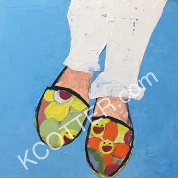 Kathy Cotter ESPADRILLES OIL ON PANEL
