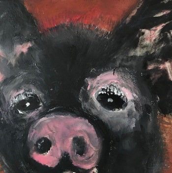 Kathy Cotter PIGS oil and wax on panel