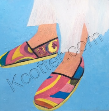 Kathy Cotter ESPADRILLES oil on board