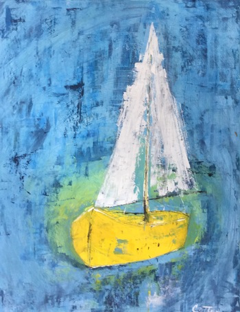 Kathy Cotter BOATS and LIGHTHOUSES oil on panel