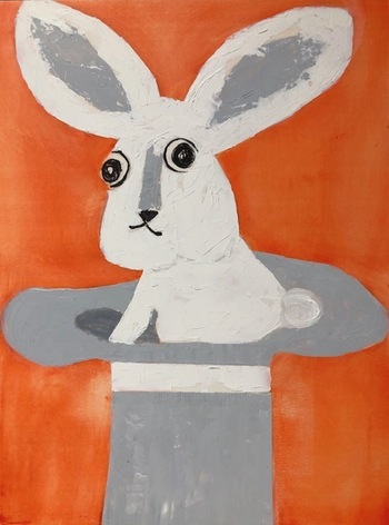 Kathy Cotter RABBITS Oil on Board