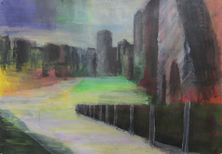 Keisuke Eguchi Painting Cityscape acrylic and charcoal on paper