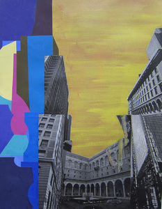 Keisuke Eguchi Painting Cityscape acrylic and collage on paper